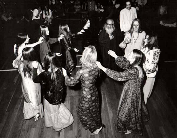 William Mathieu watching Murshid dance with a circle of women, Sausalito, California - 1970s